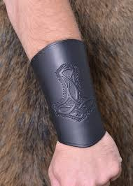 bracer leather wristguard with thor s hammer motif long