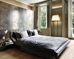 contemporary bedroom with animal print bedding
