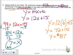 common core math write a linear equation given a word problem more practice you