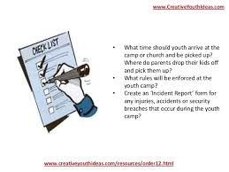 Youth Ideas Youth Camp Checklist
