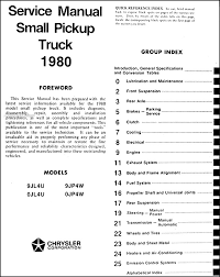 dodge ram plymouth arrow truck repair shop manual original this manual covers all 1980 dodge d 50 and plymouth arrow pickup models including sport sweptline 2 wheel drive and 4 wheel drive