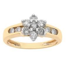 Flower Design Diamond Ring Details About 0 40 Carat Round Cut Diamonds Flower Design Ring 10k Yellow Gold