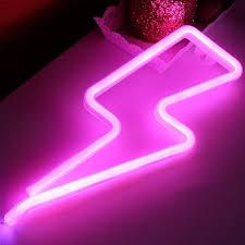 Neon Lights For Bedroom Lightning Neon Light Signs Xiyunte Neon Lights Lightning Wall Lamp Room Decor Battery And Usb Operated Neon Lights Pink Lightning Neon Signs Lamps