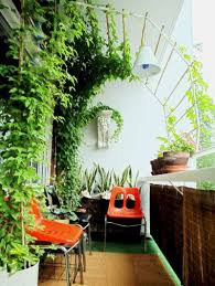garden landscaping: Attractive Green Ivy Giving Fresh Landscape At Small  Balcony Garden Which Is Equipped