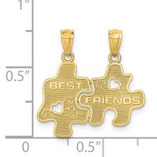quality gold 14k best friends puzzle