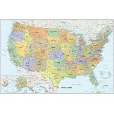 United States Map Of The World U S Wall Maps Laminated Framed Rails Spring Rollers Map Shop