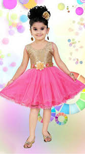 Kids Designer Pink Kids Designer Short Frock With Floral Sash Dt12048