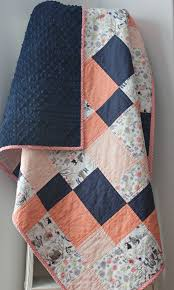 948 best Quilts images on Pinterest | Quilt display, Mini quilts ... & Coral Baby Quilt for Girl Coral and Navy by LittlebCottonShoppe Adamdwight.com