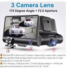 Camera Hành Trình 3 Mắt X006- TẶNG THẺ NHỚ 32GB- MÀN HÌNH 4 INCH FULL HD  1080- VỚI 3 CAMERA, Camera trước, Camera sau quay Cabin và Camera lùi- Cảm  biến chuyển