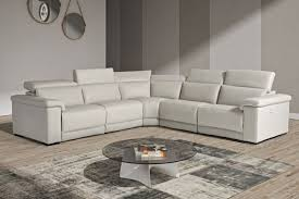 estro salotti palinuro modern grey leather sectional