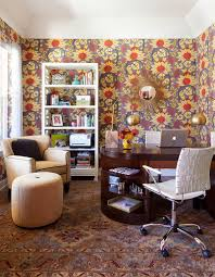 wallpaper designs for office. Midcentury Home Office With Snazzy Wallpaper [Design: Atelier Interior Design] Designs For O