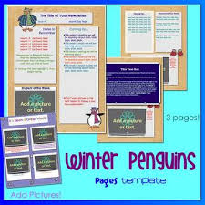 Pages Winter Penguins Theme Newsletter Template For Ipads Iphones Macs