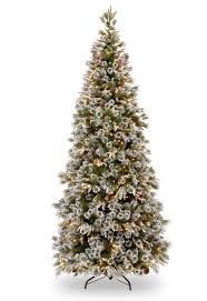 7ft Pre-lit Liberty Pine Slim Decorated Feel-Real Artificial Christmas Tree