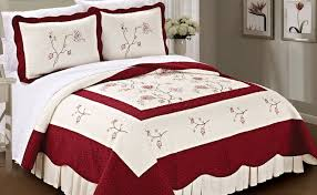 Spring Flowers Bedspread Quilt 3 Piece Bed Sets & Burgundy Spring Flowers Bedspread Quilt 3 Piece Bed Set Adamdwight.com