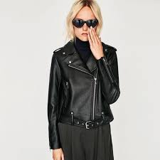 zara black leather jacket women s fashion clothes outerwear on carou