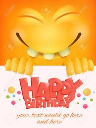 Happy Birthday Card Template With Yellow Smiley Face Emoticon