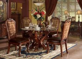 dresden carved wood 5pc 54 round glass top dining table set in cherry oak