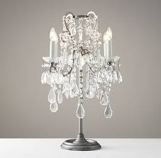 image of clear crystal chandelier table lamp