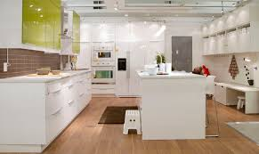 Funky White Kitchen Island On Fake Wood Floors Also White Gloss Hardwood  Cabinet Set In Modern All White Kitchen Themes Decors