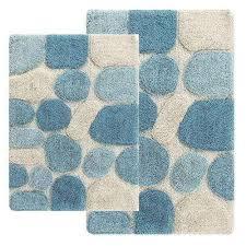 2 piece bath rug set in aquamarine
