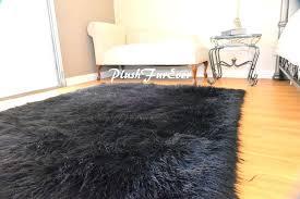 black plush area rug 5 x 7 black faux fur area rug fake fur rectangle sheepskin