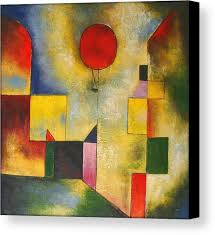 paul klee canvas print featuring the painting red balloon by paul klee
