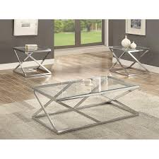crown mark chase 3pc coffee table set