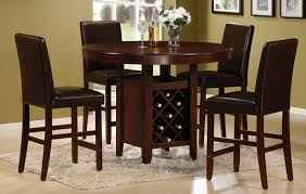 high kitchen table set. Classic Dining Room Design With Round Brown Cherry Counter High Kitchen Table Set, Dark Set