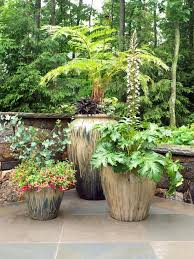 Soften corners of your patio with a cluster of potted plants in various  heights. >