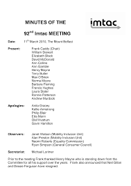 MINUTES OF THE 92 Imtac MEETING