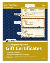 Gift Certificate Template Microsoft Word Adorable Amazon Adams Gift Certificates LaserInkjet Compatible 48Up