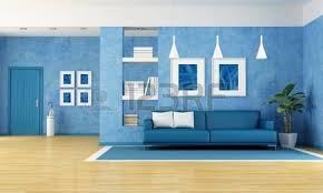 living room with blue sofa. contemporary living room with blue sofa and door-rendering-the art pictures on wall