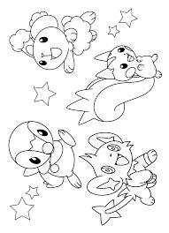 Pokemon Paradijs Kleurplaat Piplup Buneary Shinx En Pachirisu