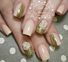 Nude gold glitter nails 3d rose roses nail art | Nails by Simóne ...