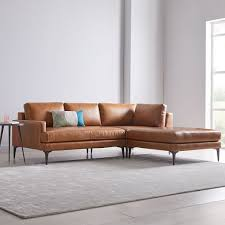 andes leather 3 piece chaise sectional