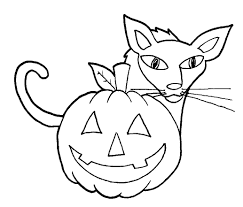 Small Picture Easy Halloween Cat And Pumpkin Coloring Pages For Kindergarten