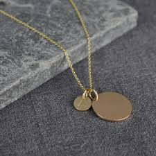 solid gold large and small disc initial necklace