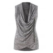 whole plus size cowl neck ruched marled tank top dark gray 4x polyester others