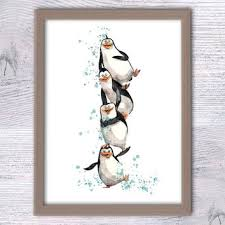 kids room wall art penguins of madagascar children art crazy animals nursery on penguin wall art for nursery with chihuahua dog bird art print from inameliart