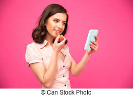 Funny woman holding mirror Funny woman holding a mirror and