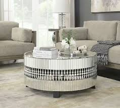 crystal teardrop mirrored coffee table