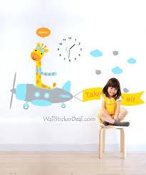 clock of giraffe flier kid wall stickers boys childrens animals