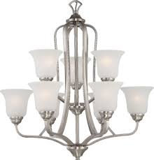 elizabeth brushed nickel chandelier frosted glass shades 27 wx28 h