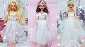 Cách làm 3 bộ váy cô dâu trắng đơn giản và nhanh nhất cho búp bê Ami DIY -  YouTube