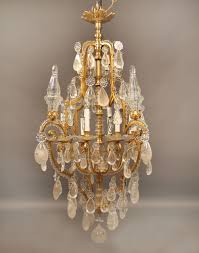 a lovely early 20th century gilt bronze and rock crystal chandelier