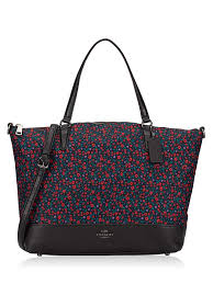 59433 Ranch Floral Nylon Satchel Bright Red Black