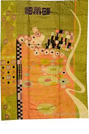 klimt rugs art nouveau green pink abstract wall