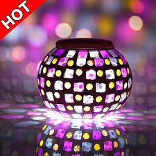 color changing solar garden lights. Senbowe™ Solar Powered Mosaic Glass Ball LED Garden Lights, Color Changing Table Lamps, Waterproof Outdoor Lights For Christmas, Home, Yard,