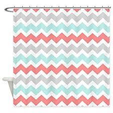 aqua chevron shower curtain. cafepress - coral aqua grey white chevron shower curtain decorative fabric