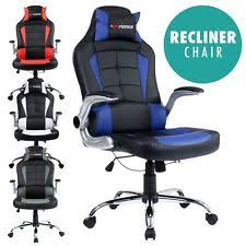 office recliner chair. GTFORCE BLAZE RECLINING LEATHER SPORTS RACING OFFICE DESK CHAIR GAMING COMPUTER Office Recliner Chair E